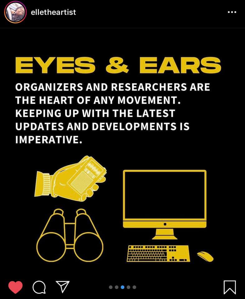 elletheartist  Eyes & Ears  Organizers and researchers are the heart of any movement. Keeping up with the latest updates and developments is imperative.