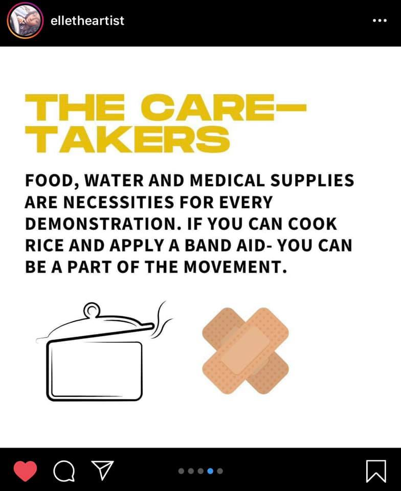 elletheartist  The Care-Takers  Food, water and medical supplies are necessities for every demonstration. If you can cook rice and apply a band aid - you can be a part of the movement.