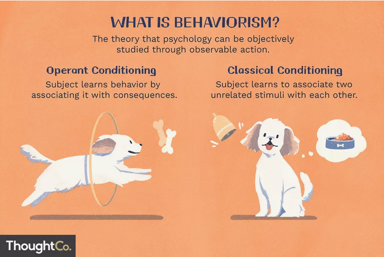 What is behaviorism? The theory that psychology can be objectively studied through observable action.  Operant Conditioning: Subject learns behavior by associating it with consequences  Classical Conditioning: Subject learns to associate two unrelated stimuli with each other  ThoughtCo